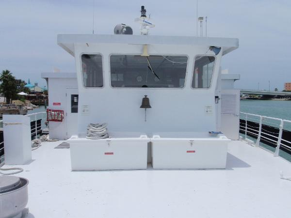 Custom Overnight Passage Maker Bow Looking Aft to the Helm