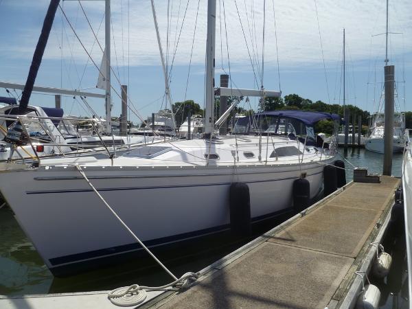 Catalina 445 Port Bow at the Dock