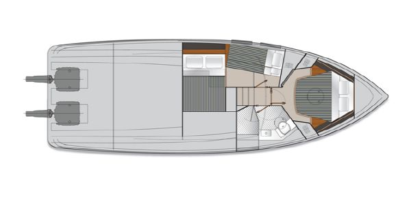 Maritimo Mustang 43 Accomodation Option 2 Layout