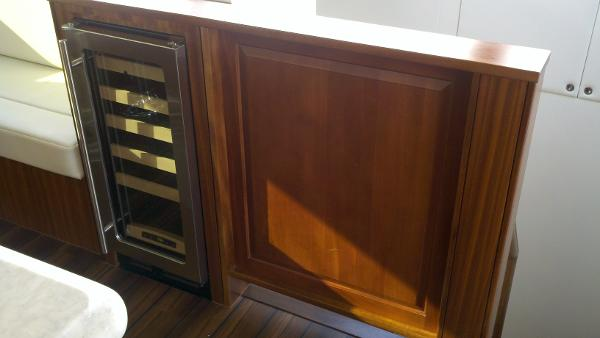 Wine cooler and raised panel wood