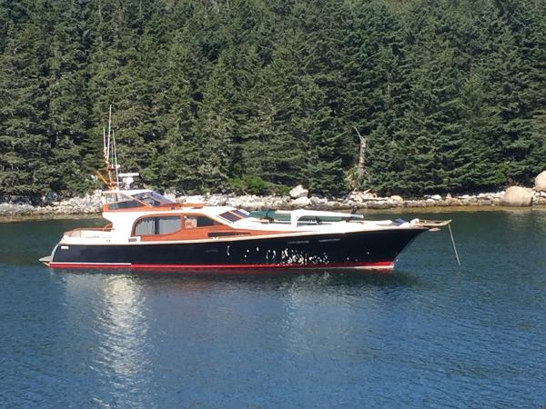 Midnight Lace 52 foot Express Black Swan at Isle au Haut
