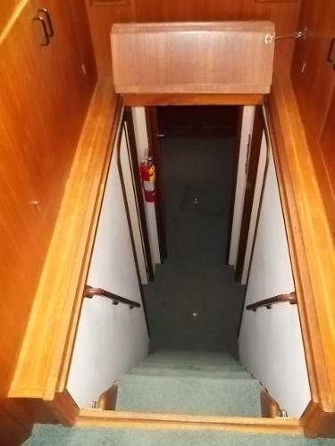 Cover open, stairs to stateroom