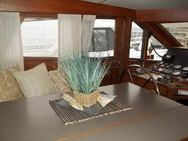 Dining table in pilothouse (opposite galley)