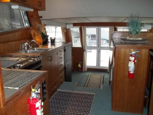 Look aft to sliding doors from galley/pilothouse