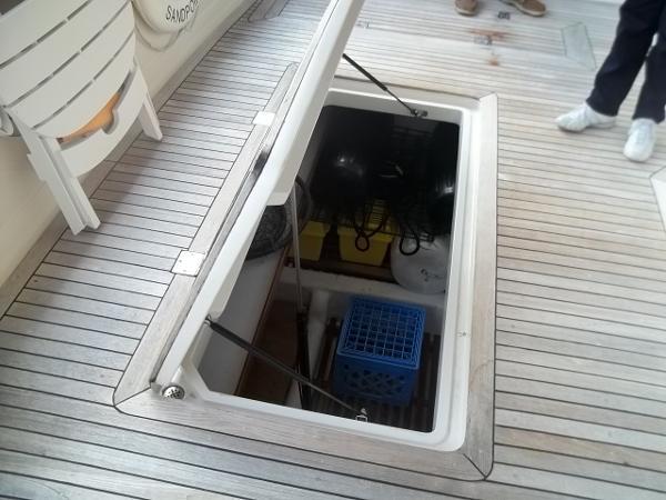 Lazerrette storage, Teak Cockpit