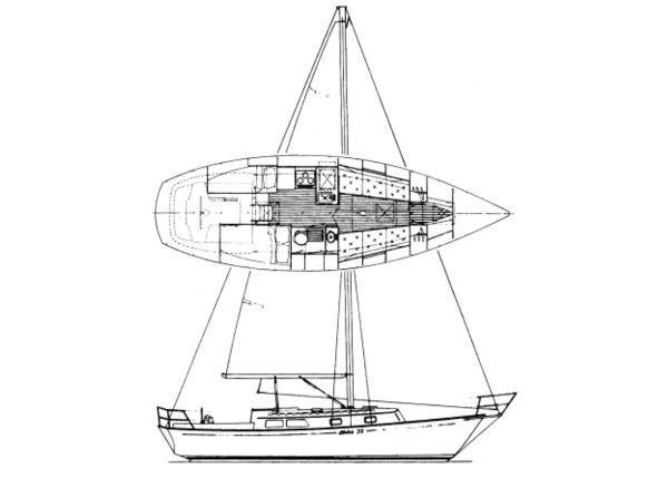 Aloha 32 Sloop Layout and Line Drawing