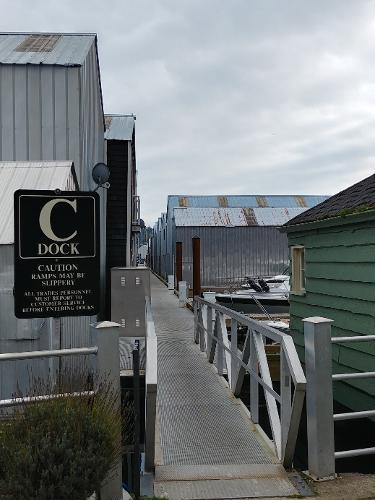 Custom Boathouse C Dock Ramp with all new docks!