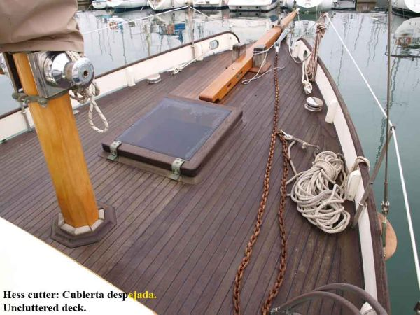 Classic Pilot Cutter uncluttered deck