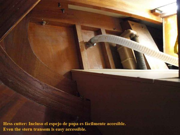 Classic Pilot Cutter transom from inside