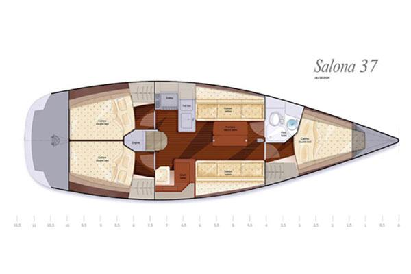 Salona 37 Manufacturer Provided Image: Layout CSalona 37 Alternative Layout C with 3 cabins and 1 head forward.