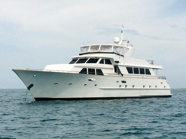 Broward Raised Pilot House Motor Yacht Anchored in the Bahamas