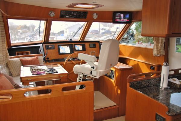 26. Pilothouse - Light honey tone teak interior.