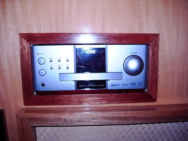 Forward starboardside twin berth cabin DVD player