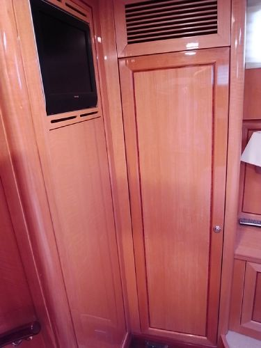 Forward starboardside twin cabin showing TV/ hanging locker