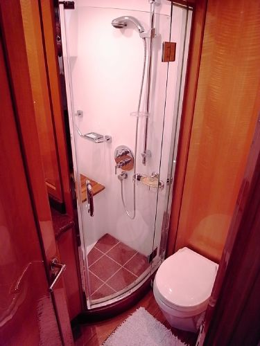 Forward guest cabin en-suite shower/ electric marine wc