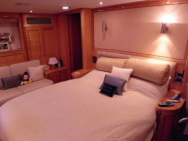 Owners aft stateroom double berth showing en-suite access