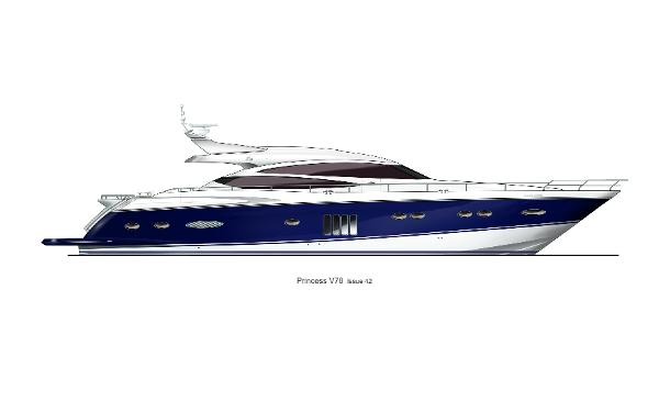 Princess V78 Profile Blue Hull