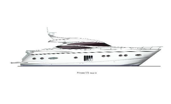 Princess V78 Profile White Hull