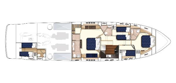 Princess V78 Lower Accommodation Layout