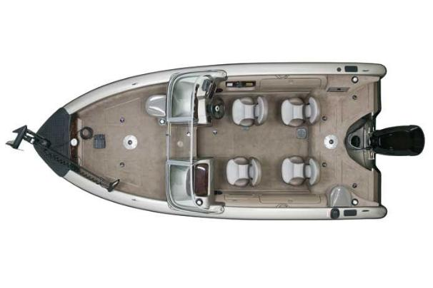 Overhead view with storage compartments closed.