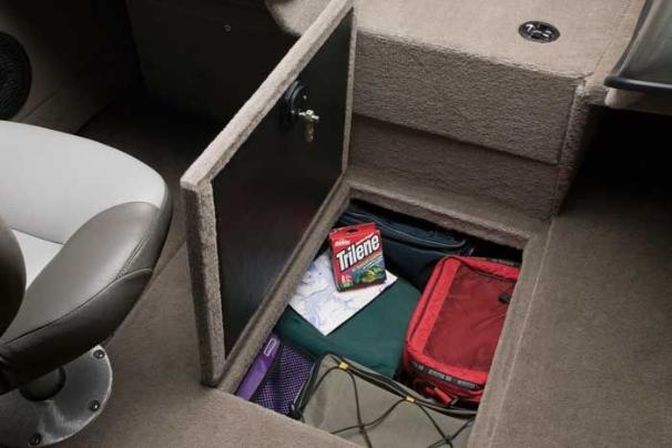 Spacious  in-floor compartment provides additional storage.