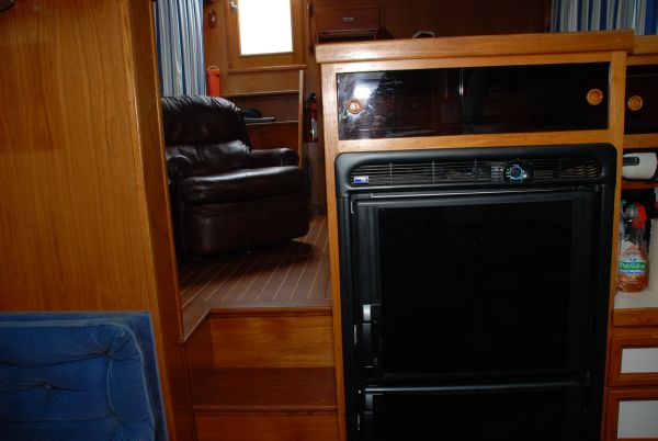 Refrigerator,Companionway Up to Salon (on left)