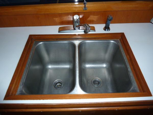 Twin stainless sinks