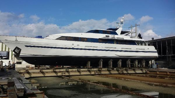 Royal Huisman Pilothouse Motoryacht Port side, on the hard for bottom paint.