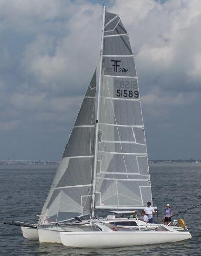 Corsair 28R sailing, original main and jib