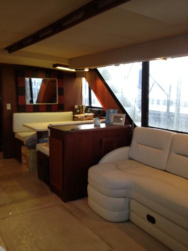 Dinette and Couch which converts to double berth in Salon