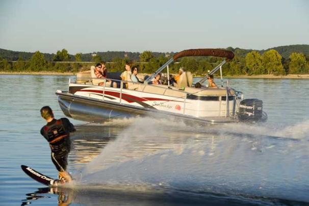 Sun Tracker PARTY BARGE 26 Regency Edition Manufacturer Provided Image: The PARTY BARGE 26 Regency Edition provides the best seats in the house to watch water sports.