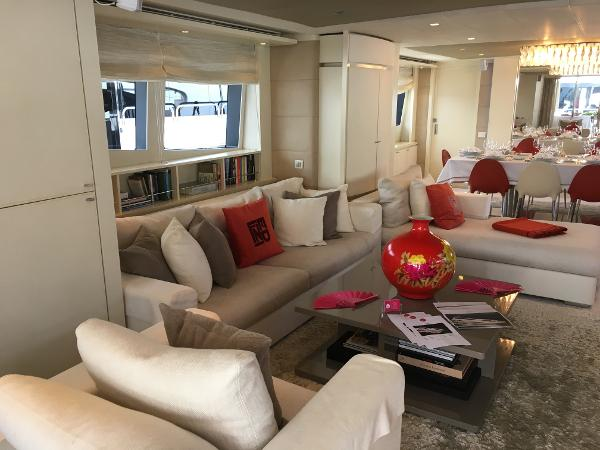Main lounge with Fendi Curshions and carpet