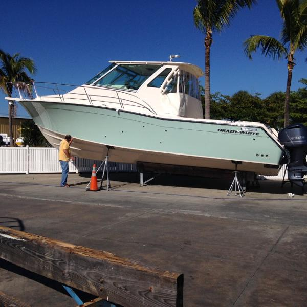 "Grady-White 370 Express Custom ""Sea Glass Green"" Hull Color"