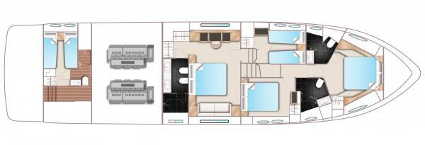 Princess Flybridge 72 Motor Yacht Lower Deck Layout Plan