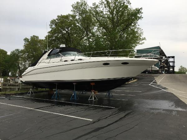 Sea Ray 370 Sundancer Starboard View On The Hard