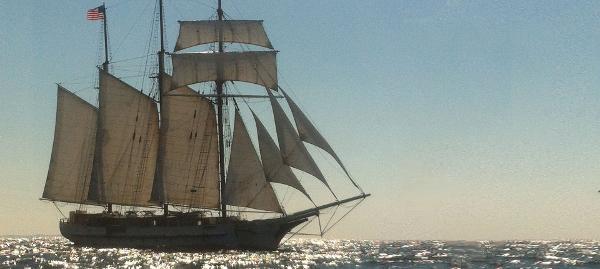 Schooner 3 Masted Brigantine Under full sail