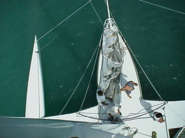 Masthead view of centre foredeck