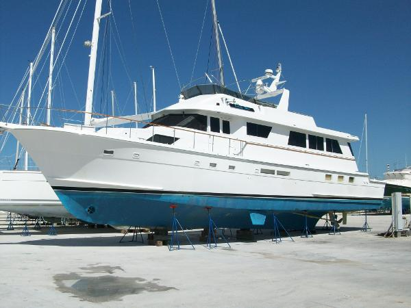 Hatteras 74 Cockpit Motor Yacht Was on the hard during hurricane scare