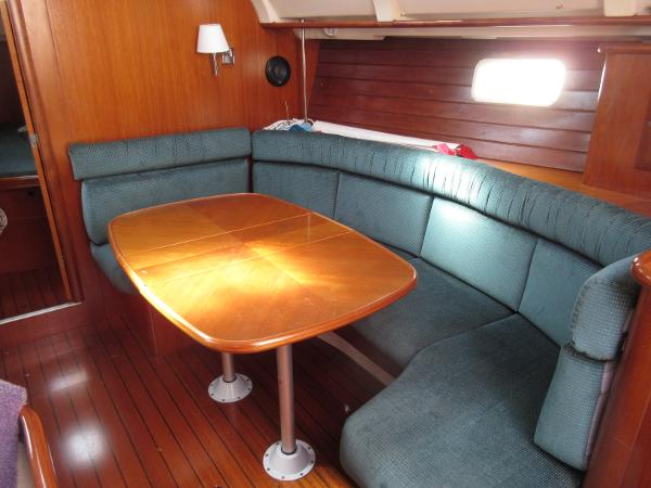 Beneteau 381 - Two Stateroom Beneteau 381 Stbd Settee and Table fwd