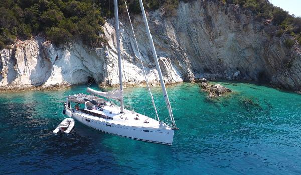Beneteau Sense 50 On anchor somewhere in Greece