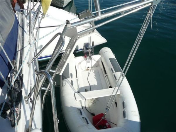 Dinghy on davits