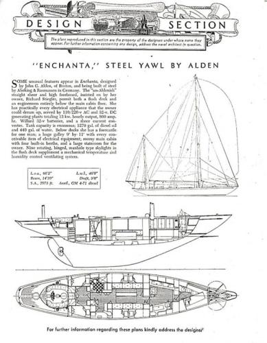 Design Section Article from 1953 Yachting Magazine