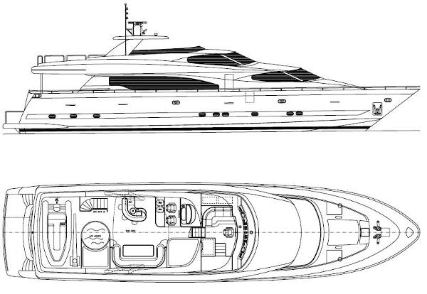 Side profile and flybridge layout