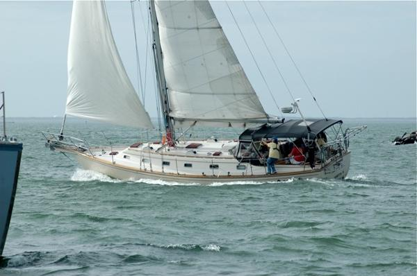 Island Packet 44 Going to windward under reefed sails