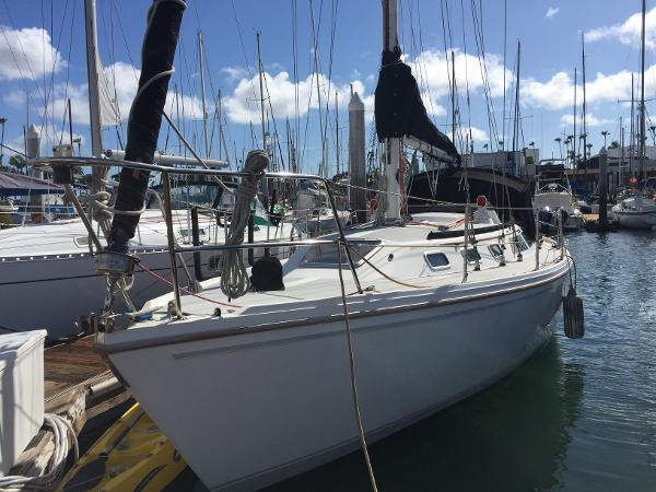 Catalina 34 Tall Rig In the slip - Port View