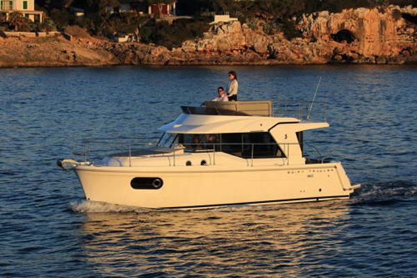 Beneteau Swift Trawler 30 Boat available has steel blue hull