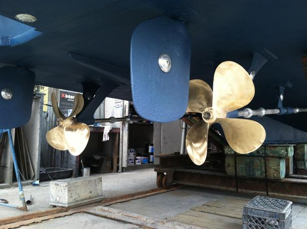 Prop & rudders - shipyard