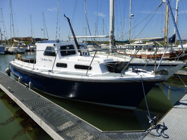 Mitchell 31 Mk1 Fishing Boat Starboard side to in marina berth