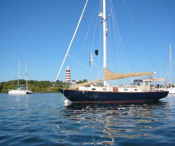 Cape Dory 36 Cutter Hopetown Bahamas; Note: Wind Generator
