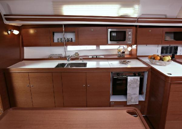 Dufour 380 GL - large galley with top access fridge.